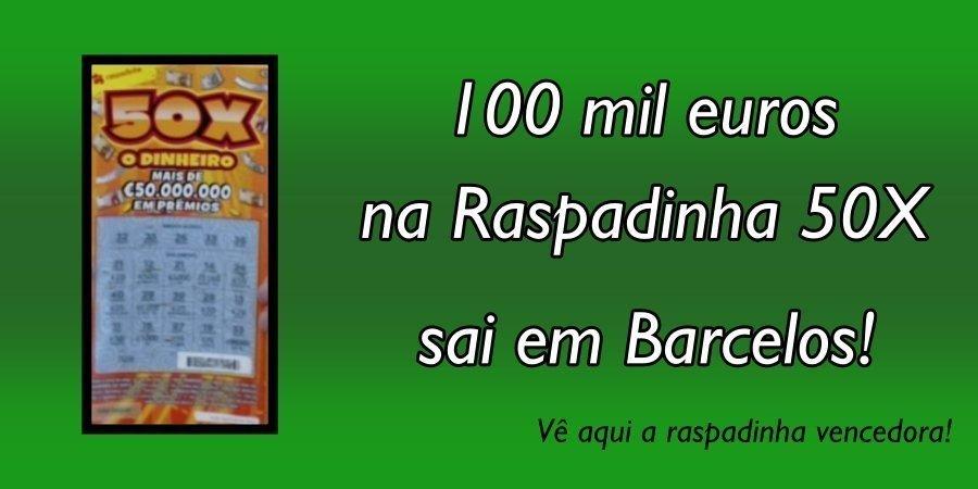 Aposta cinco euros e ganha 100 mil na raspadinha em Barcelos